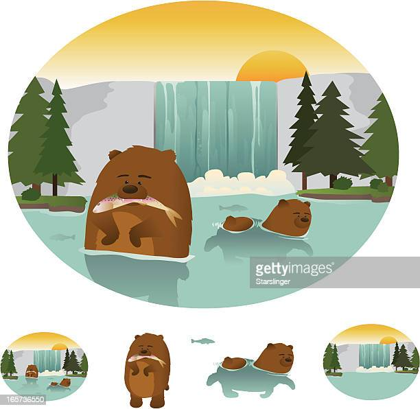 hungry swimming bears - waterfall stock illustrations, clip art, cartoons, & icons