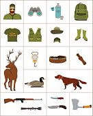 Hunter and hunting equipment flat vector