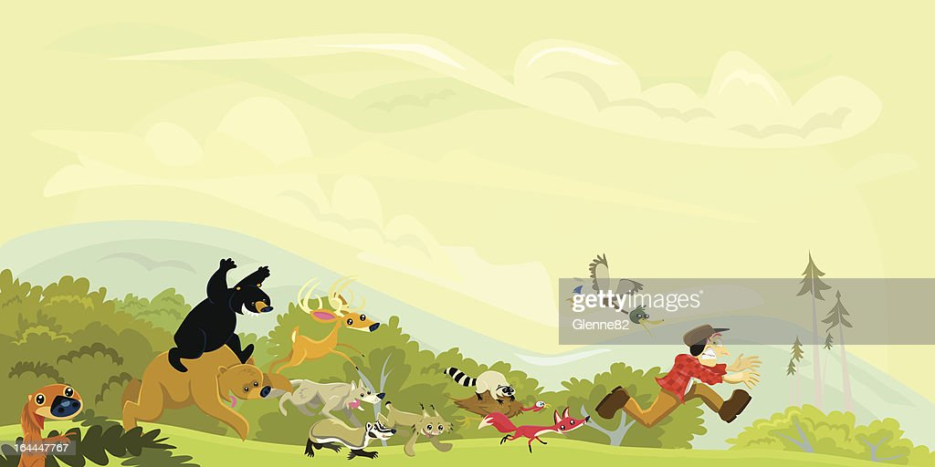 Hunter Chased by a Group of Animals : stock vector