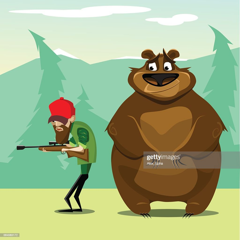 Hunter in woods hunting for bear. vector. flat illustration