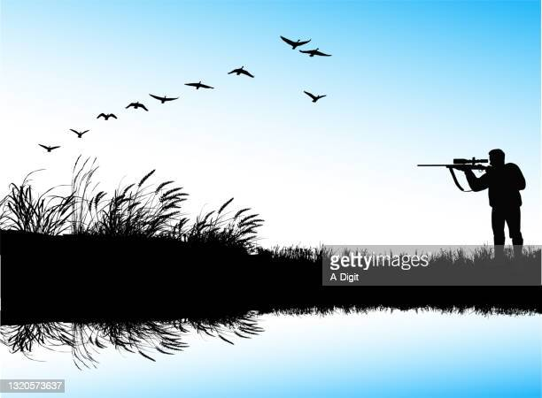 hunter shooting geese - water's edge stock illustrations