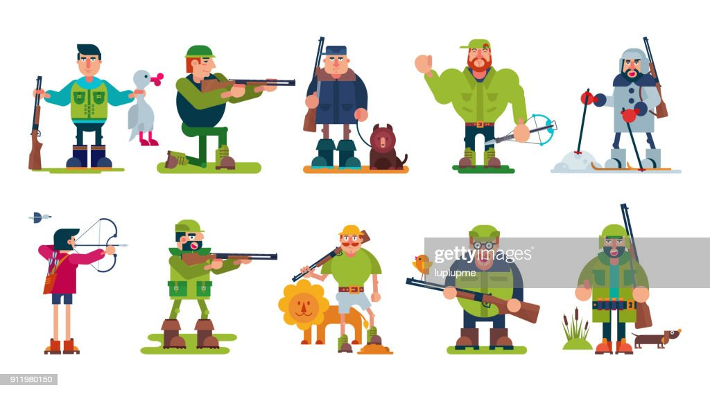 Hunter vector cartoon character of huntsman hunting with gun in forest and man in hat hunts with rifle or shotgun illustration set isolated on white background