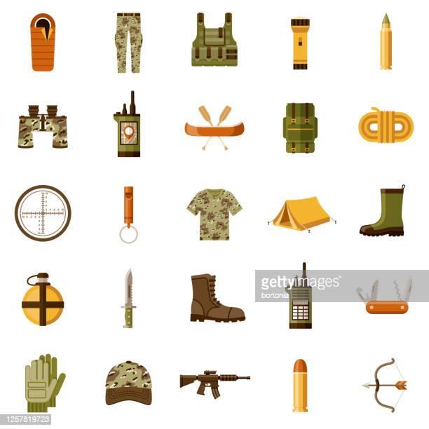 ilustraciones, imágenes clip art, dibujos animados e iconos de stock de conjunto de iconos de caza y pesca - animales cazando
