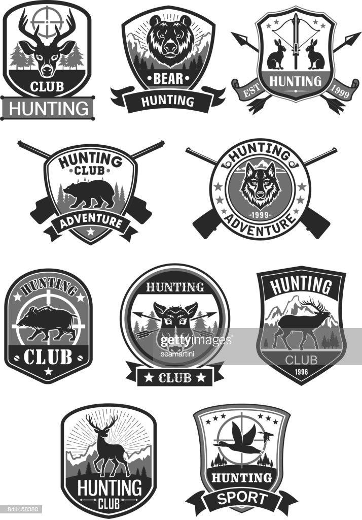 Hunting club hunt adventure vector icons set
