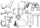 Hunting, hiking,  equipment illustration, drawing, engraving, ink, line art, vector