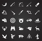 Hunting icon set on black background for graphic and web design, Modern simple vector sign. Internet concept. Trendy symbol for website design web button or mobile app.
