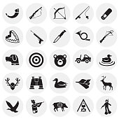 Hunting icon set on circles background for graphic and web design, Modern simple vector sign. Internet concept. Trendy symbol for website design web button or mobile app.