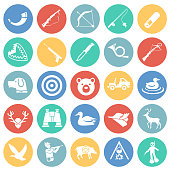 Hunting icon set on color circles background for graphic and web design, Modern simple vector sign. Internet concept. Trendy symbol for website design web button or mobile app.