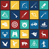 Hunting icon set on color squares background for graphic and web design, Modern simple vector sign. Internet concept. Trendy symbol for website design web button or mobile app.