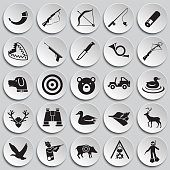 Hunting icon set on plates background for graphic and web design, Modern simple vector sign. Internet concept. Trendy symbol for website design web button or mobile app.