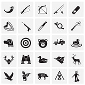 Hunting icon set on squares background for graphic and web design, Modern simple vector sign. Internet concept. Trendy symbol for website design web button or mobile app.