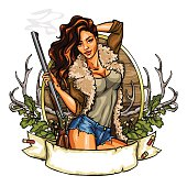 Hunting label with pretty woman holding shot gun