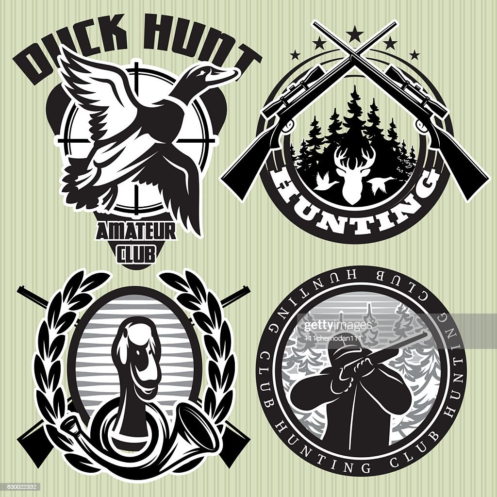 hunting label with wild ducks and deer head