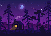 Hunting Lodge in the Night Forest