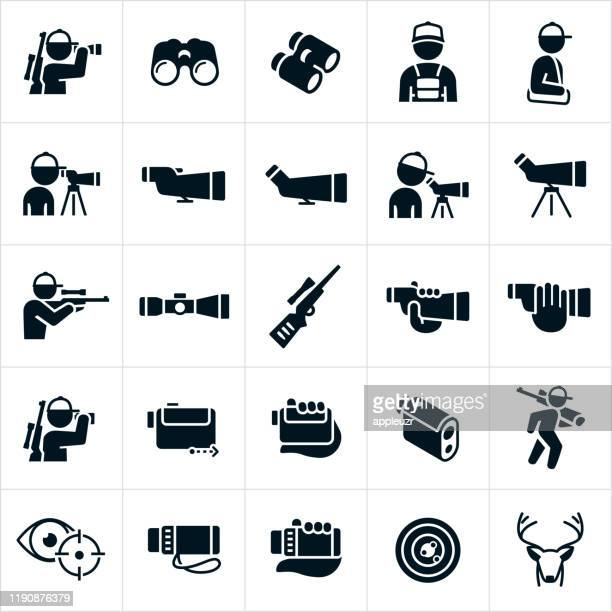 hunting optics icons - male animal stock illustrations