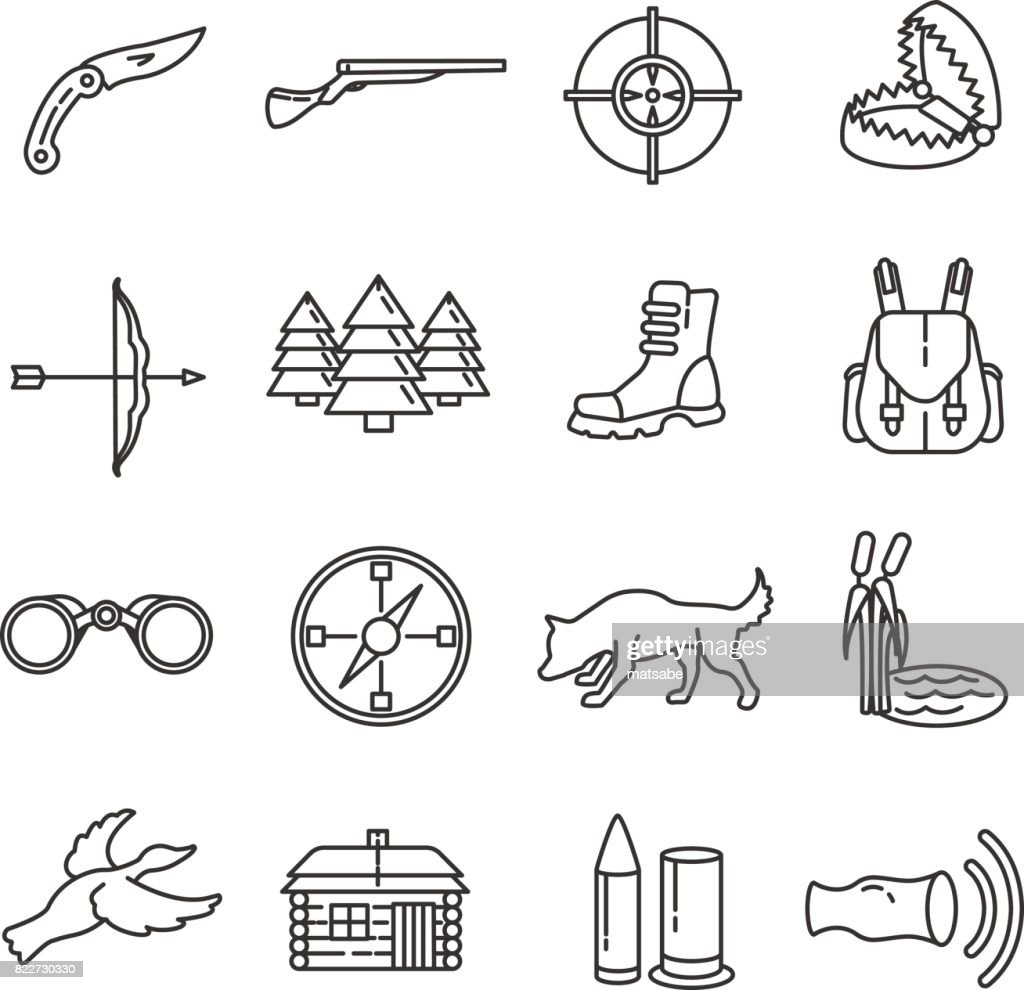 Hunting. set of line icons