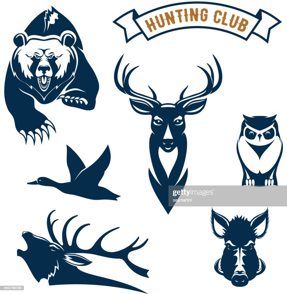 Hunting sport club vector animals icons