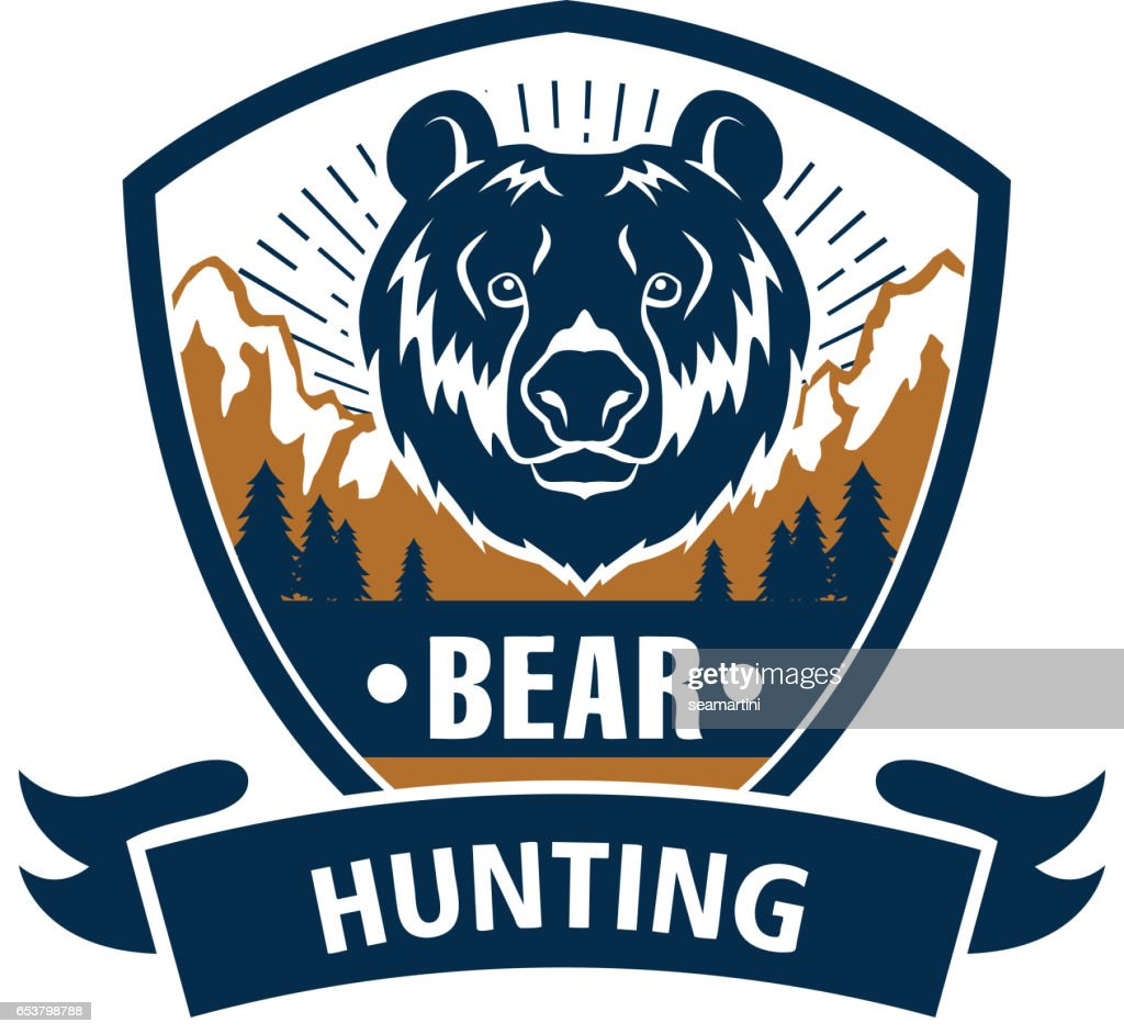 Hunting sport or hunter club, bear vector icon