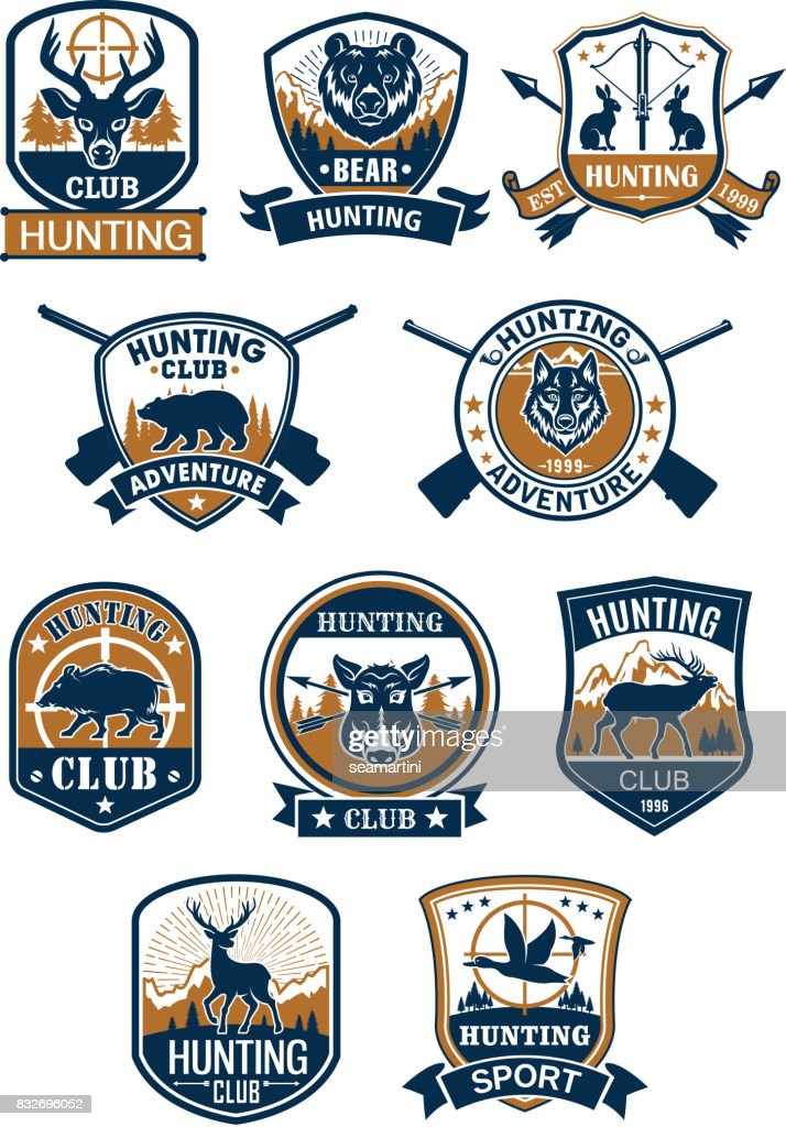 Hunting sport symbol and hunter club badge set