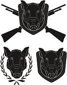 Hunting trophy boar set