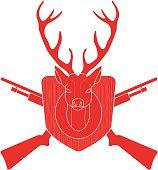 Hunting trophy deer head black silhouette