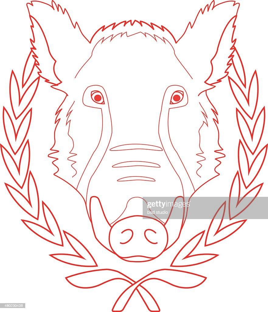 Hunting trophy.wild boar head in laurel wreath. Contour