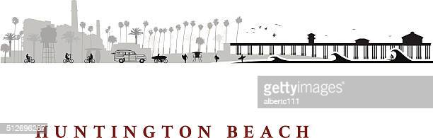 huntington beach california cityscape - huntington beach california stock illustrations, clip art, cartoons, & icons