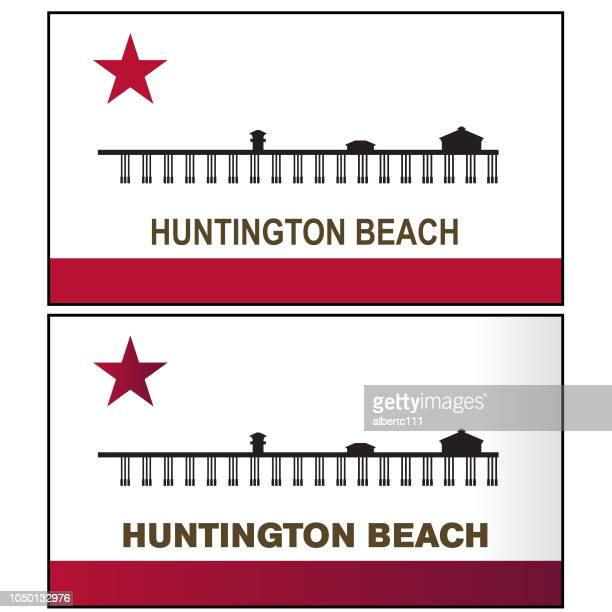 huntington beach california graphic - huntington beach california stock illustrations, clip art, cartoons, & icons
