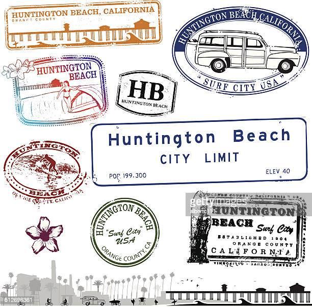 huntington beach california stamps - huntington beach california stock illustrations, clip art, cartoons, & icons