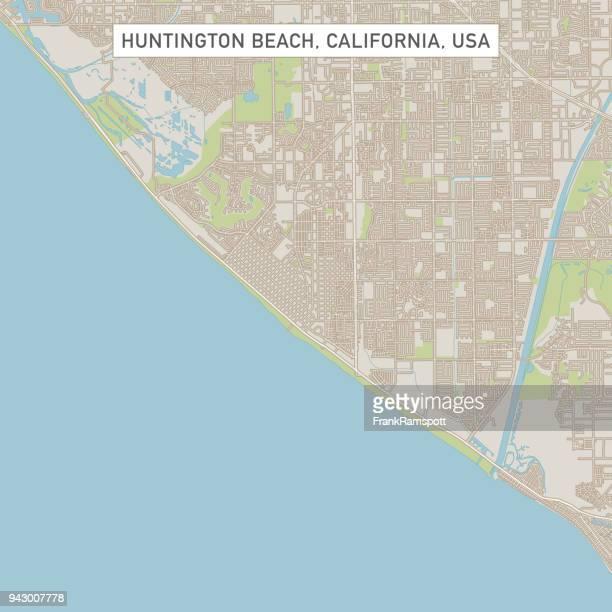 huntington beach california us city street map - huntington beach california stock illustrations, clip art, cartoons, & icons