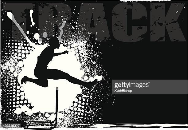 hurdle grunge background - girls - hurdle stock illustrations