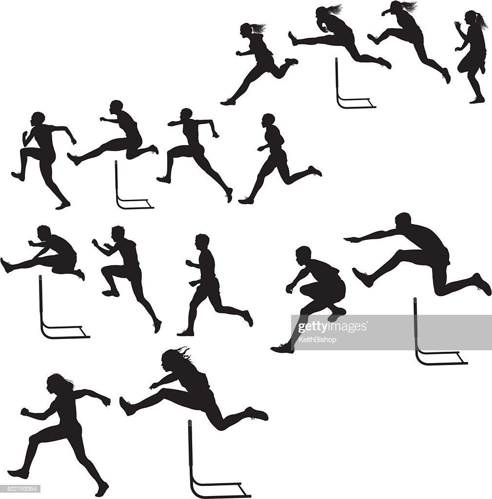 Hurdlers &  hembra-macho de raza, pista cumplir : Ilustración de stock