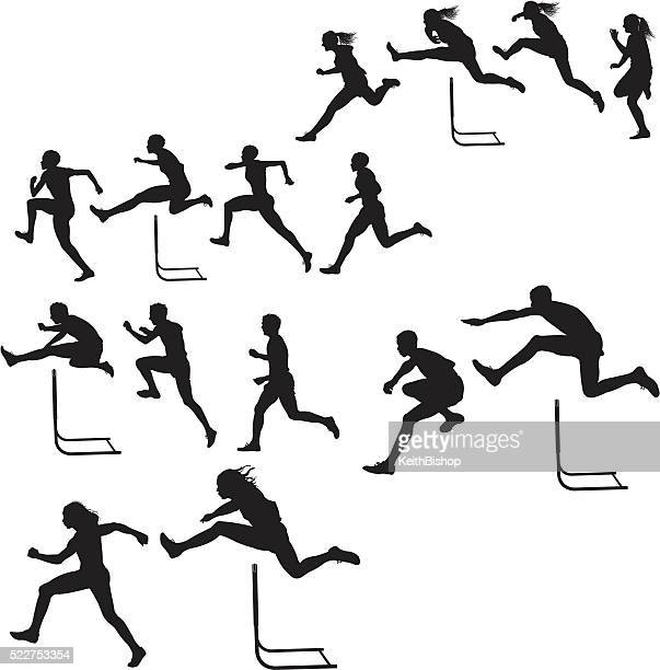 hurdlers - male & female race, track meet - jumping stock illustrations