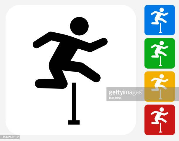 hurdles icon flat graphic design - hurdle stock illustrations