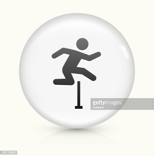 ilustraciones, imágenes clip art, dibujos animados e iconos de stock de obstáculos icono sobre un botón de vectores redondo y blanco - salto de longitud