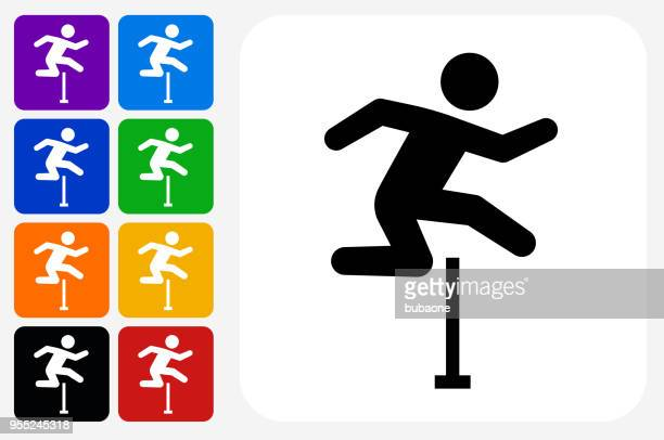 hurdles icon square button set - hurdle stock illustrations