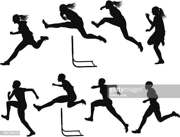 ilustraciones, imágenes clip art, dibujos animados e iconos de stock de carrera de pista con obstáculos, hembra - atleta atletismo