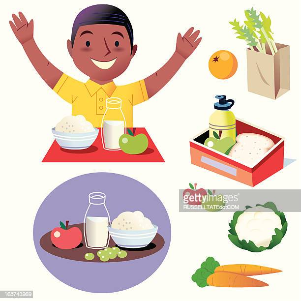 hurray for healthy food! - lunch break stock illustrations, clip art, cartoons, & icons