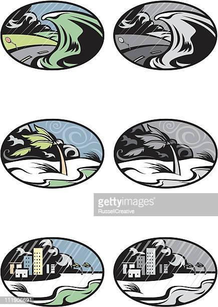 hurricane conditions - hurricane stock illustrations, clip art, cartoons, & icons