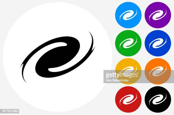 Hurricane Icon on Flat Color Circle Buttons