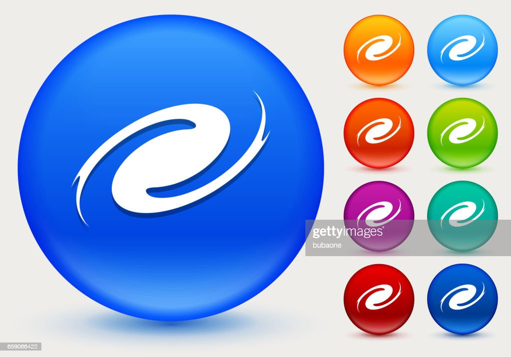 Hurricane Icon on Shiny Color Circle Buttons : stock illustration
