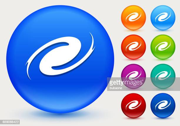 Hurricane Icon on Shiny Color Circle Buttons