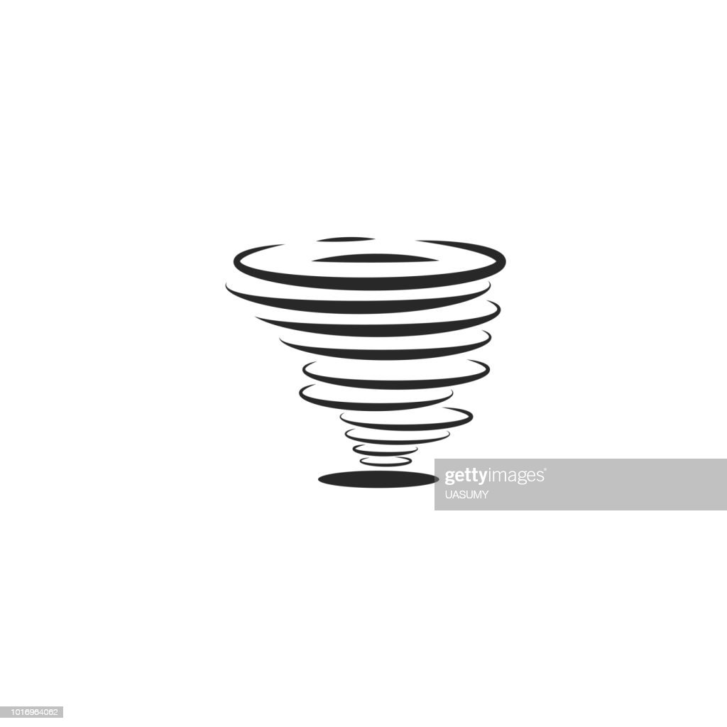 Hurricane icon or tornadoes symbol in the linear minimal flat style. Twisting air whirlwind simple illustration