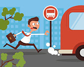 Hurry anxiety stressed office worker businessman character running after bus. Lateness concept