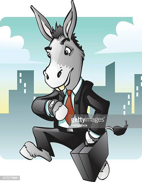 ilustraciones, imágenes clip art, dibujos animados e iconos de stock de date prisa negocios burro mule - mula