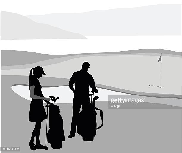 Husband And Wife Golfing