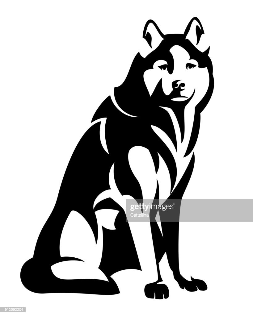 husky dog black vector design