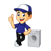 Hvac Cleaner or technician leaning on washing machine