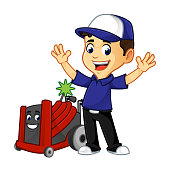 Hvac Cleaner or technician with rotobrush happy
