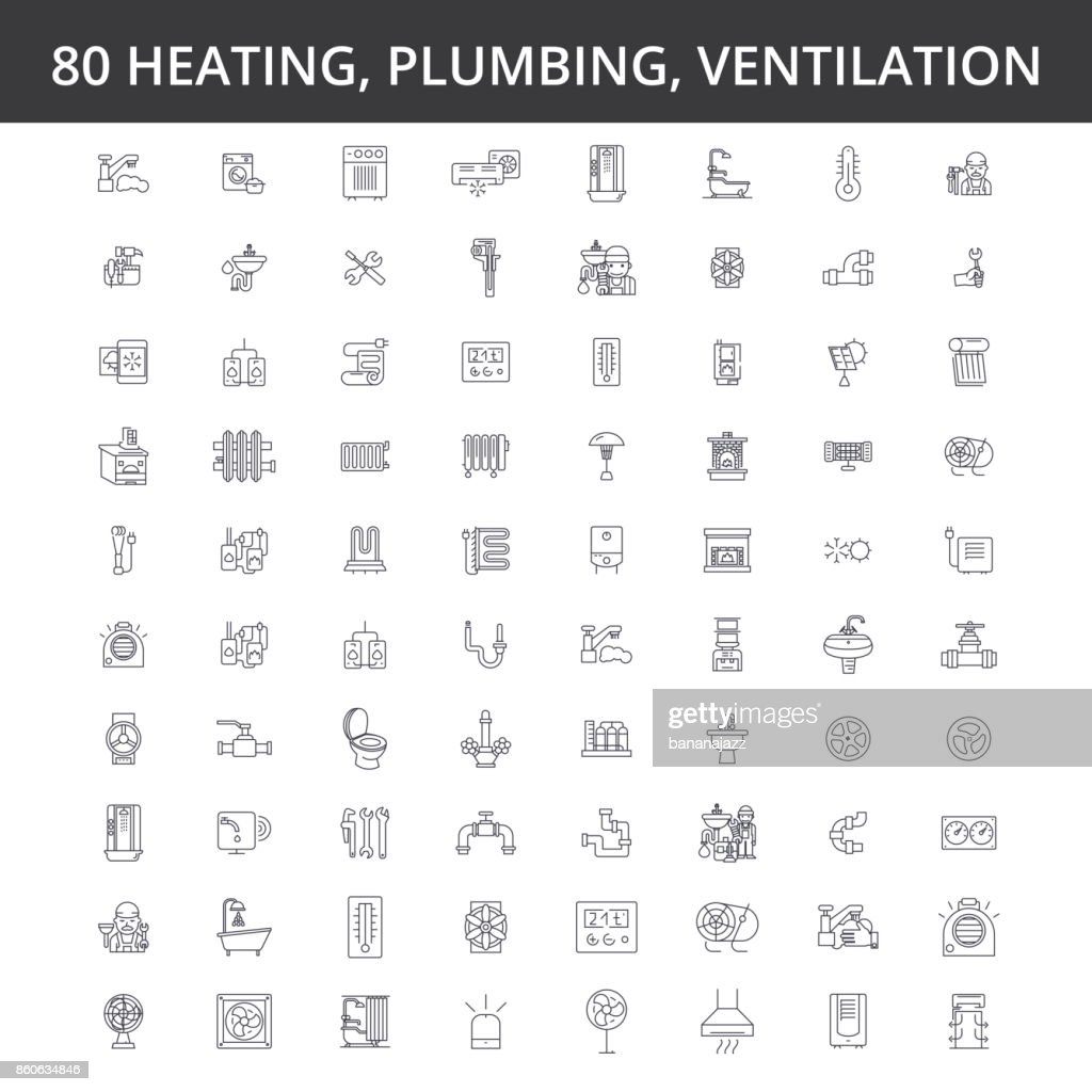 Hvac, heating, air conditioning, ventilation, plumbing service, boiler, home conditioner, engineering, radiator line icons, signs. Illustration vector concept. Editable strokes